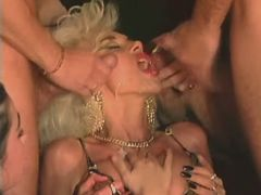 Blonde mature getting double facial