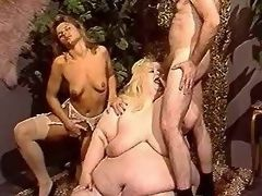 Huge lusty woman gets cum on belly
