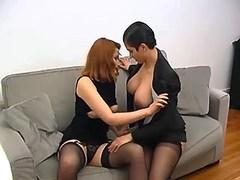 Oversexed lesbian couple sucks cock