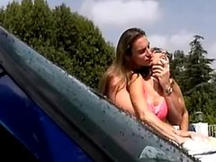 Haired hippie fucks girl on her car