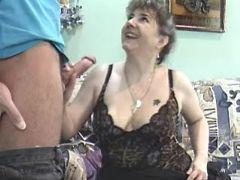 Lonely grandma seduces repairman