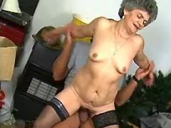 Spoiled granny jumps on big dick