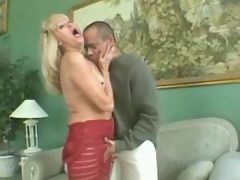 Old blond lady jumps on strong cock