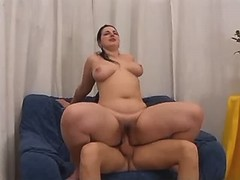 Portly busty honey fucking with guy