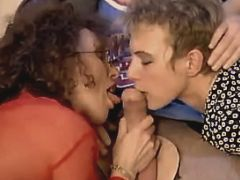 Two milfs suck cock and fuck w guy