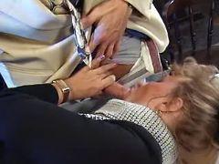 Lusty mature satisfys boss on table