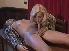 Shemale sucking hunk right on table