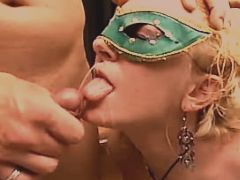 Beautiful blonde milf gets facial
