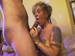 Aged tattooed mature sucking cock