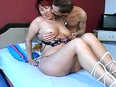Charming mature lady with gross breast gets licked