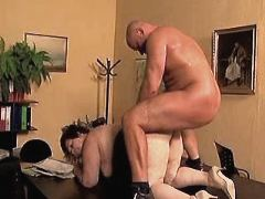 Mature sucks n gets anal in office