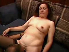 Lusty granny and man make oral sex