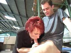 Redhead granny sucks cock n licked