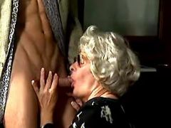 Granny throats fresh cock of guy
