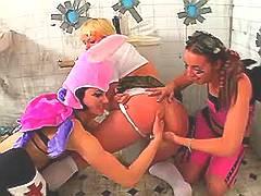 Kinky Halloween girls have sex fun