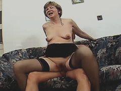 Aged mature sucks and fucks on sofa