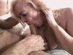 Blonde mature sucks cock and fucks