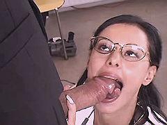 Cute mature woman doctor sucks cock