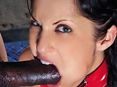 Angry blowjob by brunette that gets creampie