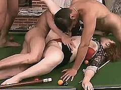 Mom fucks on billiard table in orgy