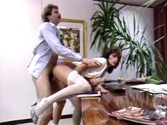 Mature secretary getting creampie on her boss desk