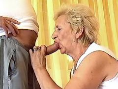 Old charwoman throats strong cock