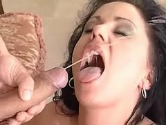 Cute girl gets facial after blowjob