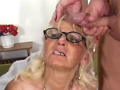 Old woman gets sperm in groupsex