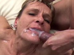 Mature fucks n gets facials in orgy