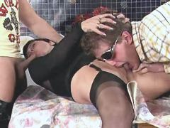 Two aged matures have oral in orgy