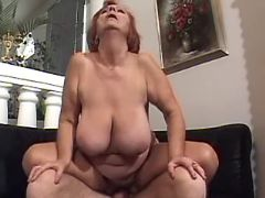 Rednead old lady rides fresh cock