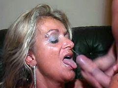 Mature fucks n gets facial in orgy