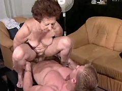 Granny fucks w guy in all positions
