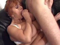 Plump granny greedily sucks cock