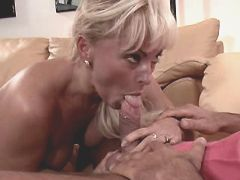 Blonde mature sucking dick and nuts