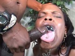 Fat black mature gets cum in mouth