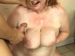 Chubby mature gets double cumload
