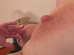 Nourished mature masturbate on bed