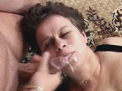 Elder mature gets facial after orgy