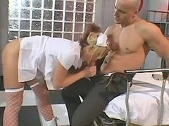 Blond nurse fucking w guy in clinic