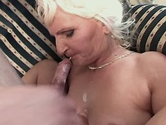 Granny fucks and gets cum in mouse
