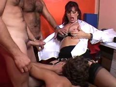 Mature secretary seduces horny guys