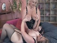 Two chubby lesbians play sex games