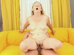 Depraved granny jumps on hard dick