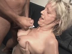 Granny fucks n gets cumshot on tits