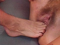 Old nasty granny gets her cunt stuffed with foot