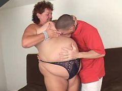 Lewd obese woman spoils amateur guy
