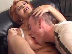 Redhead granny seduces amateur guy