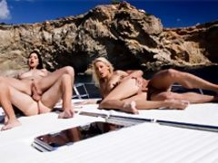 Stunning European chicks having fun on a boat