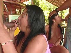 Black plumpers suck appetizing cock